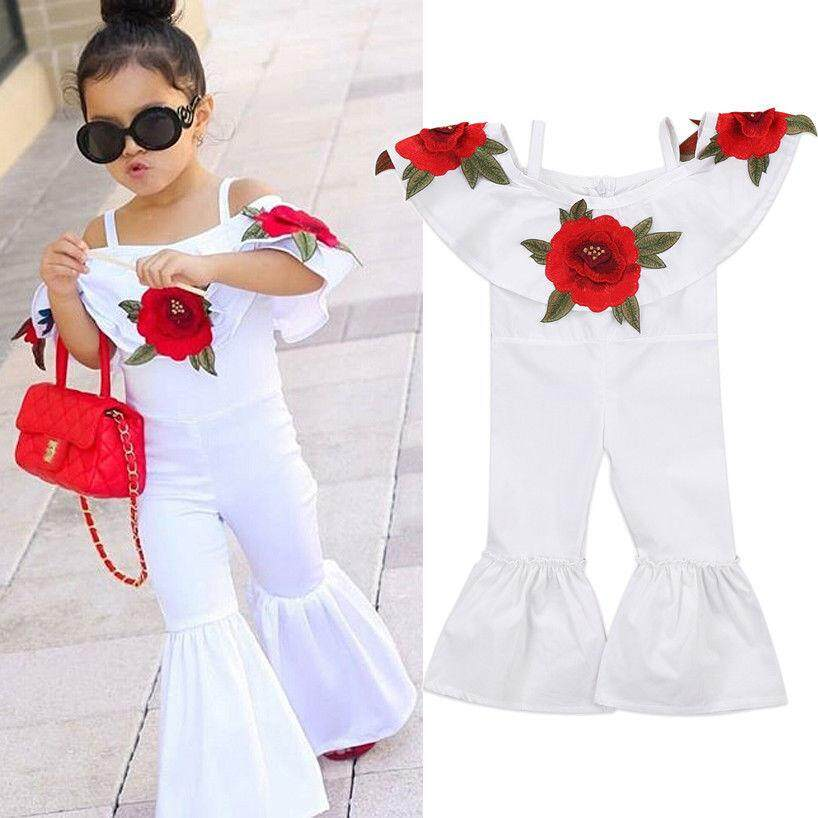 Toddler Baby Girl Flowers Romper Jumpsuit Bodysuit Bell Bottom Pants Kids Clothes - Intl.