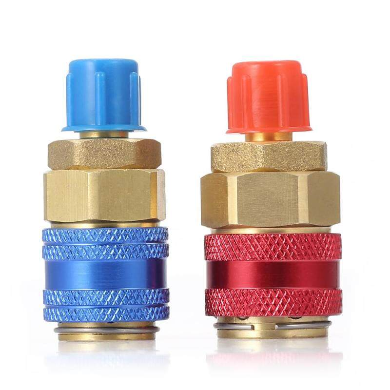 R134a H / L Auto Car Quick Coupler Brass Adapters For Air Conditioning Refrigerant Adjustable Manifold Gauge 2pcs