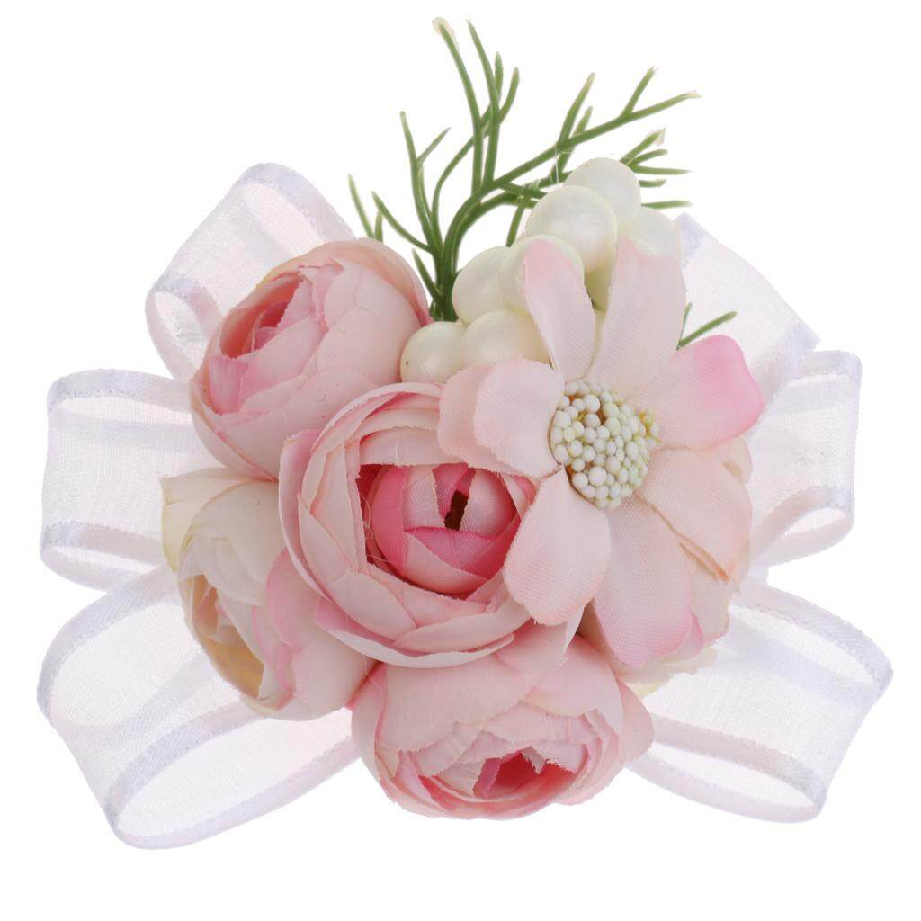GuangquanStrade Bridesmaid Sisters Corsage Bracelet Hand Flowers Wedding supply Pink