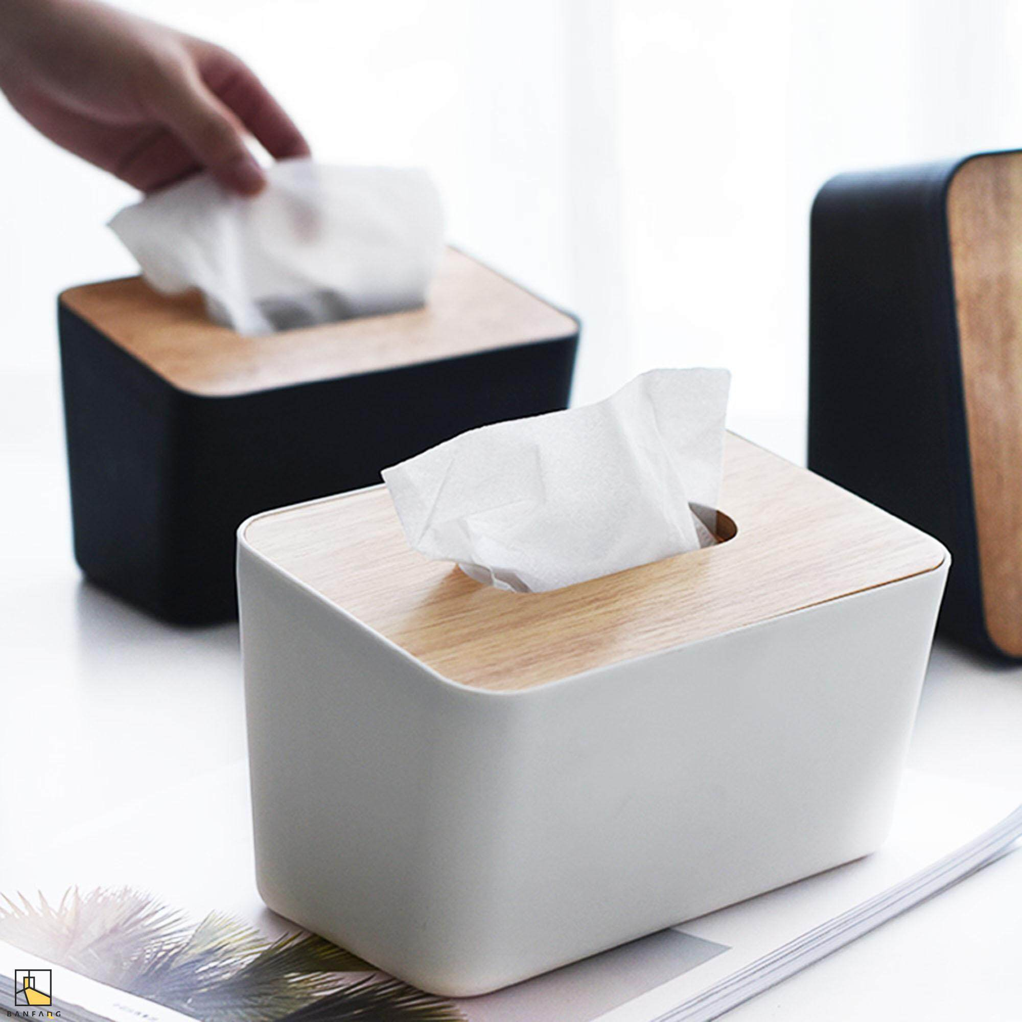 BANFANG Creative vertical pp tissue box rectangular paper box with wooden cover pump box small car sitting room napkin box