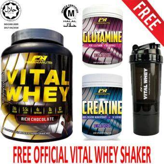 Beginner Set- Vital Whey Isolate Halal 1kg, 24g Protein, 33 Servings(Chocolate) + 100% Pure L-Glutamine Halal 250g, 50 Servings (Unflavored) + 100% Creatine Halal 250g, 50 Servings (Unflavored) + FREE 3 in 1 Vital Shaker Official