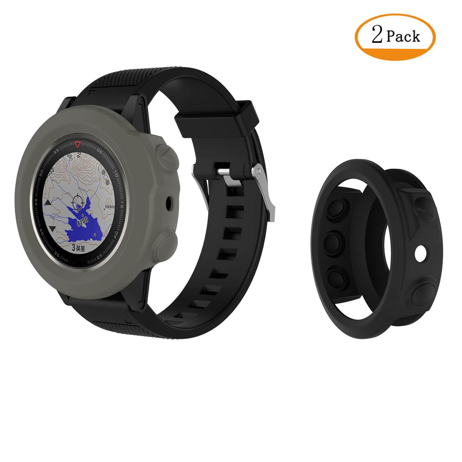 2 Pack Silicone Cover Cases Screen Protector for Garmin Fenix 5X Watch