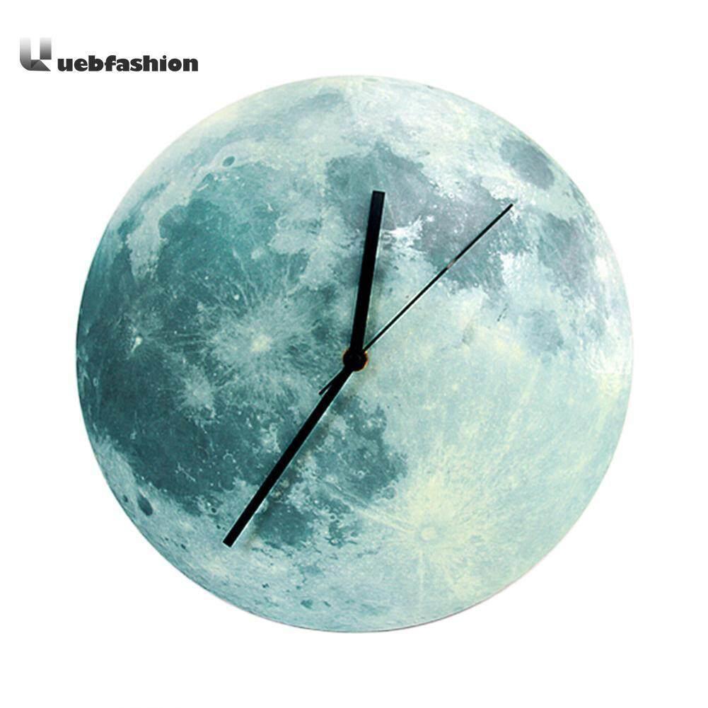 30cm Glowing Moon Wall Clock Waterproof PVC Acrylic Luminous Hanging Clock - intl
