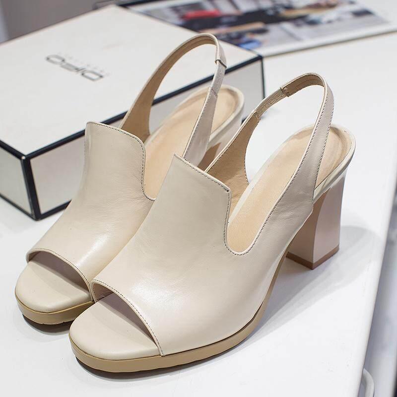 Kulit Romawi Musim Panas Perempuan Mulut Ikan Sepatu Sandal Musim Panas (Putih Warna Mengkilap 8