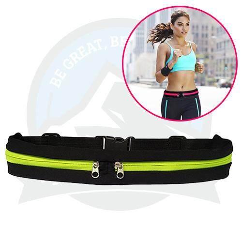 Outdoor Sports Riding Running Belt Jogging Belt Double-Zip Pockets Waist Belt Phone Bag - Green