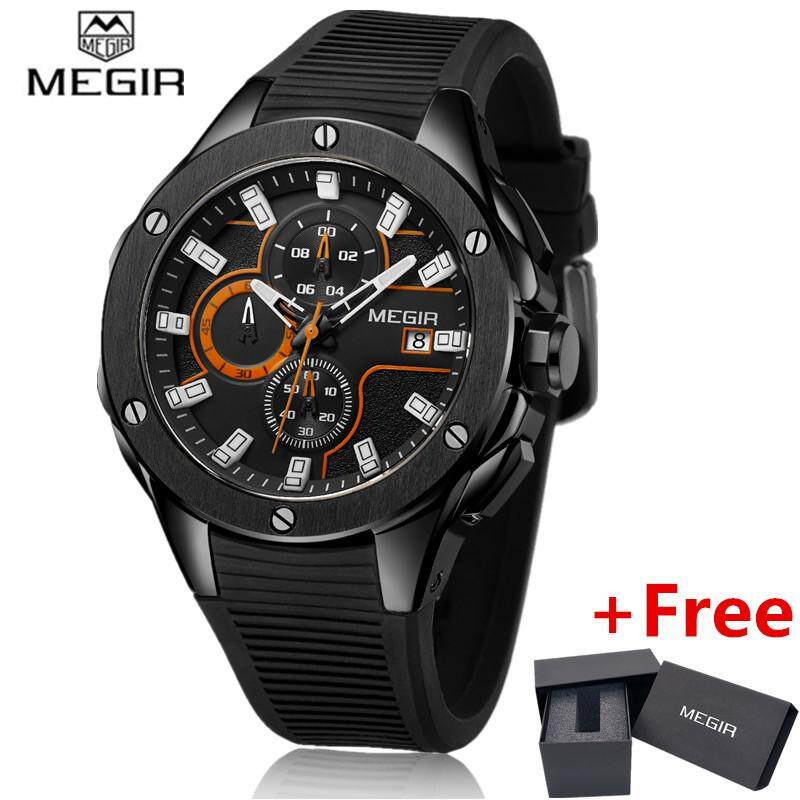 MEGIR  Brand Quartz Watches Men Top Quality Chronograph Functions Watch   Waterproof Silicone Casual Clock