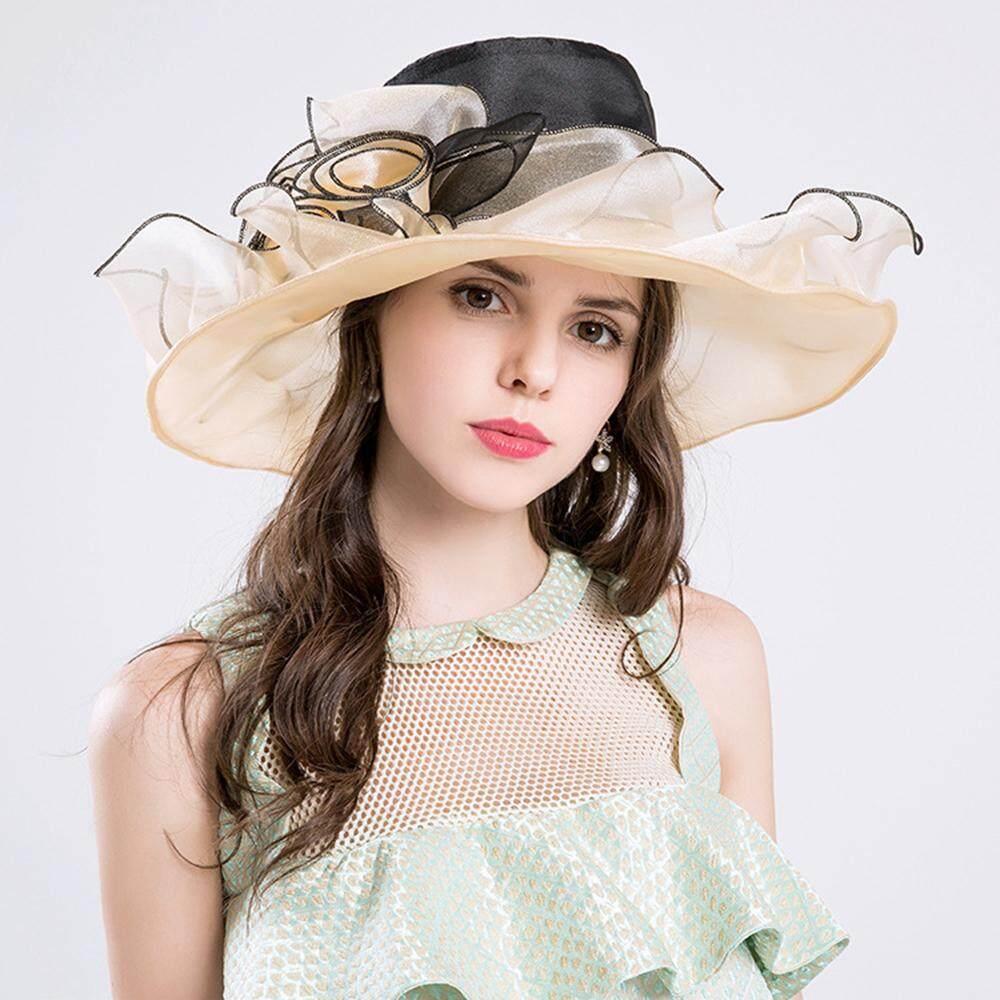 Auoker Young Women Race Hats Derby Hats Church Hat Organza Tea Party Banquet Wedding Hat - intl