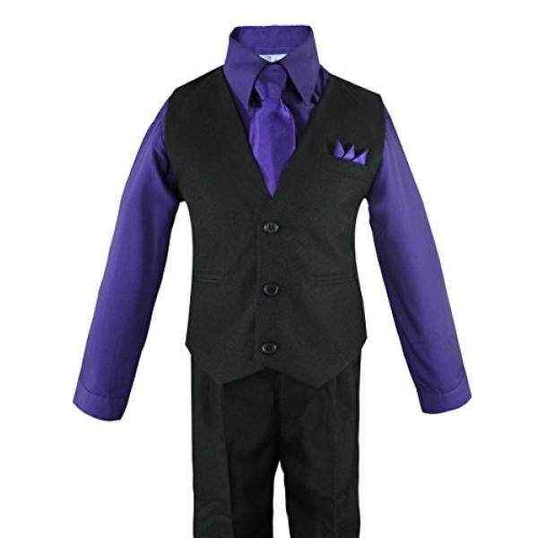 Luca Gabriel Balita Anak Laki-laki 4 Rompi Potongan Kemeja Celana Ketat dan Hanky Set Ungu-6-Intl
