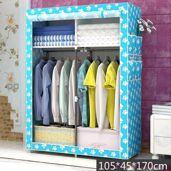 Multifunctional Wardrobe Clothes Closet Portable Wardrobe Storage Rack Nonwoven Simple Closet Dustproof Storage Cloth Cabinet Hanging Clothes Organizer 105*45*170cm - intl