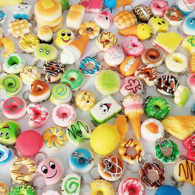 12pcs Random Kawaii Mini Soft Squishy Foods Doughnut Lovely Cake Cute Bread Phone Straps Charm Kids