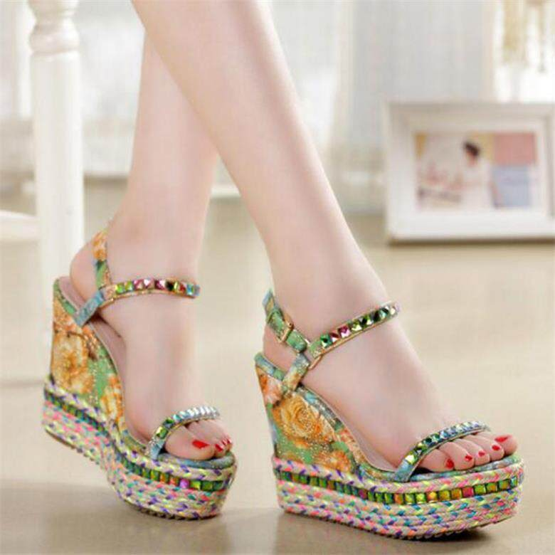 cfc4080e40da wholesale TIMETANGDrop Shipping Hot Sales 2018 Summer Lady Fashion High Heel  Wedge Sandals Elegant Flower Rivets