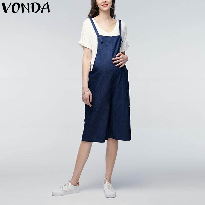 af295b796cd VONDA 2018 Summer Casual Loose Rompers Womens Jumpsuits Maternity Clothings