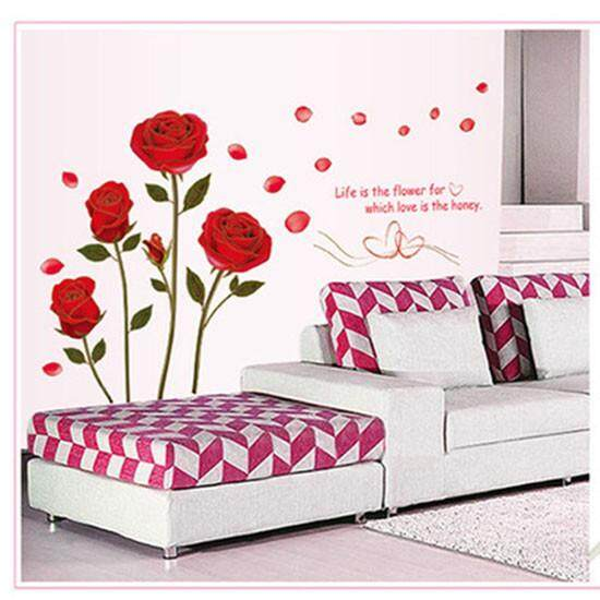 Home decor Gold Trimming Red Rose PVC Stickers Waterproof Mural Wallpaper