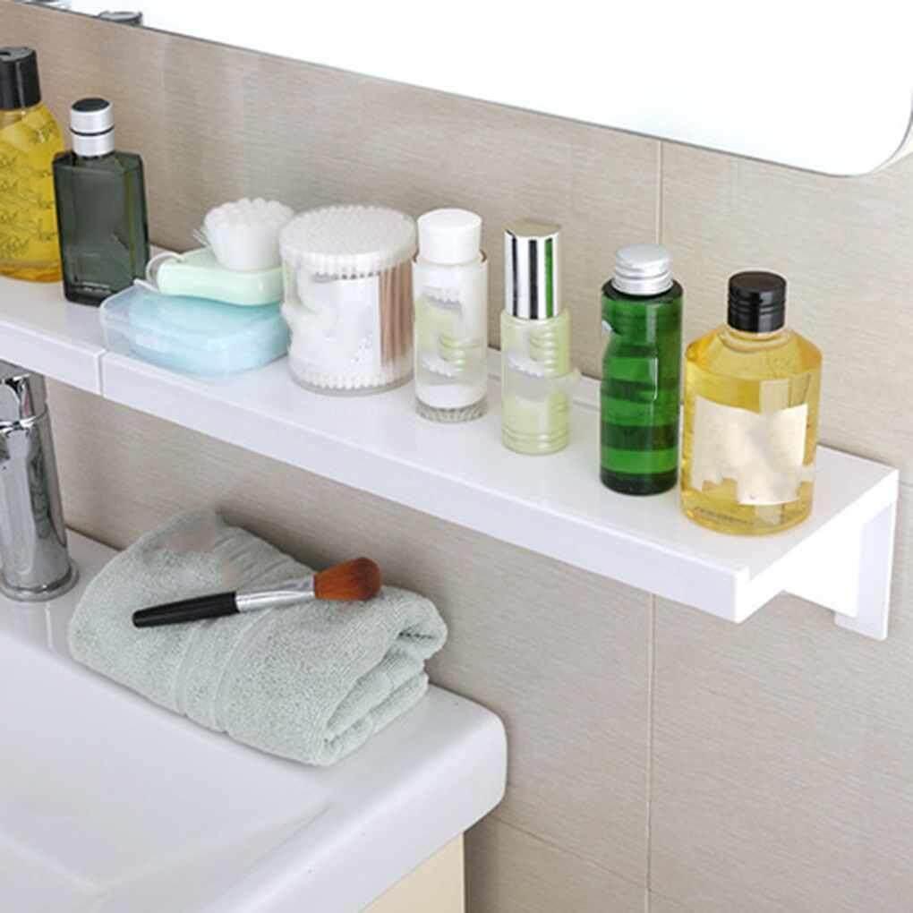 No Nail Bathroom Shampoo Cosmetic Storage Rack Plastic No Trace Stickers Kitchen Shelf Toiletries Holder Organizer By Elenxs.