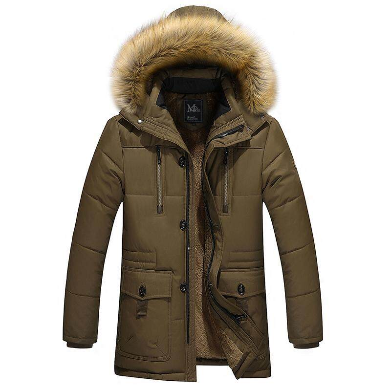 4991e7d7323 Men's 2018 Fashion New Autumn and Winter Long Middle-aged Thick Warm Coat  Jacket M