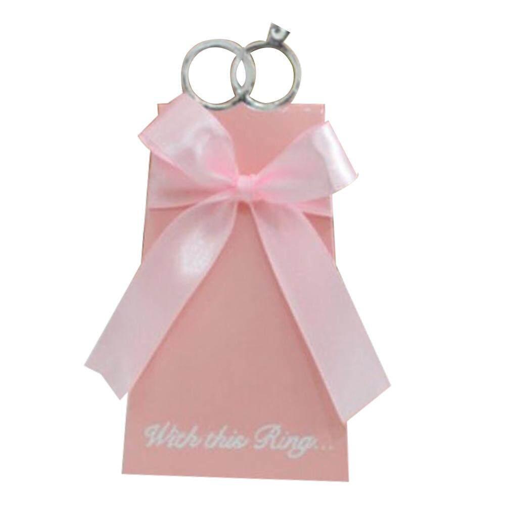 Hiqueen 10 Pcs Pink Artistik Berlian Pernikahan Cincin Kotak Permen dengan Pita Pesta Ulang Tahun Kotak