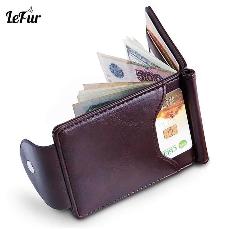 LEFUR Men PU Leather Wallet For Male Card Holder Purse Short Wallet Wallet Hasp Mini Vintage