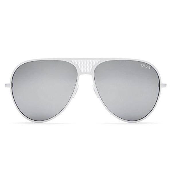 Quay Australia Ikonik Wanita Kacamata Hitam Kylie Aviator Ukuran Berlebih-Putih/Perak-Intl