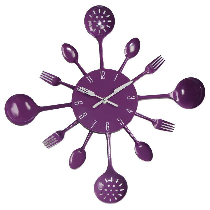 Housewares Cutlery Wall Clock - Purple