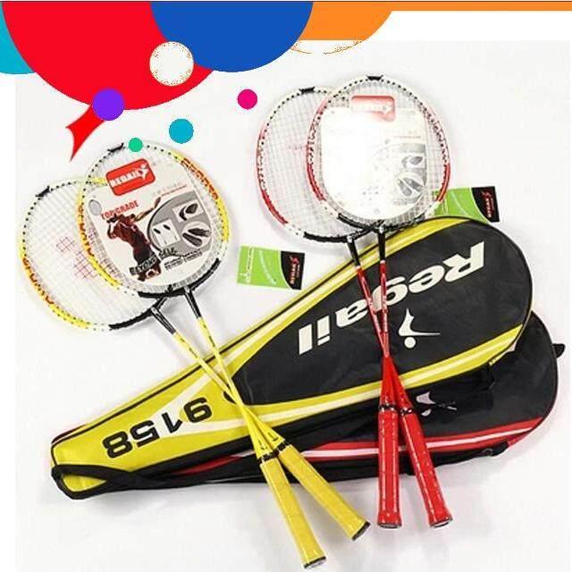 Tahan Lama Regail 9158 Tahan Lama Kecepatan Raket Badminton Battledore Raket dengan Tas Laptop untuk Pasangan 1 Pair