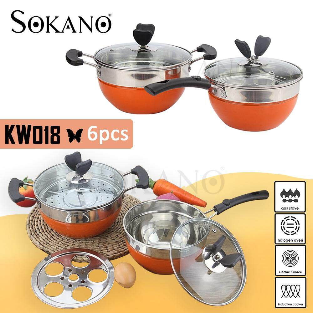 (RAYA 2019) SOKANO KW018 6pcs Cookware Set 18,20CM Premium High Quality Stainless Steel Pot With Transparent Glass Lid