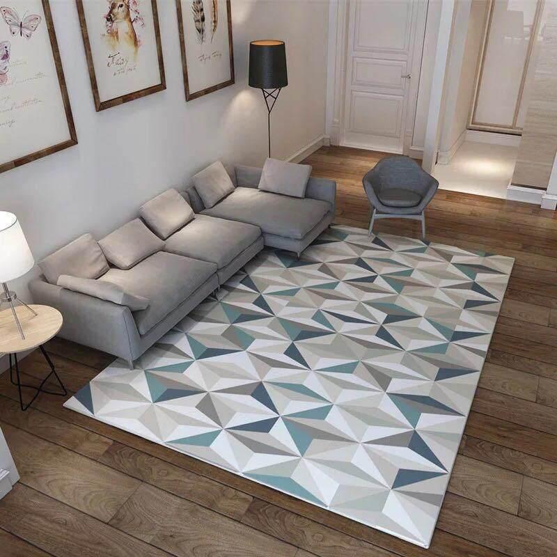Nordic Geometric Tatami Mat Living Room Bedroom Carpet Anti-slip Non-slip Sofa Tea Table Balcony Mats Soft Bedside Footcloth 120x160cm