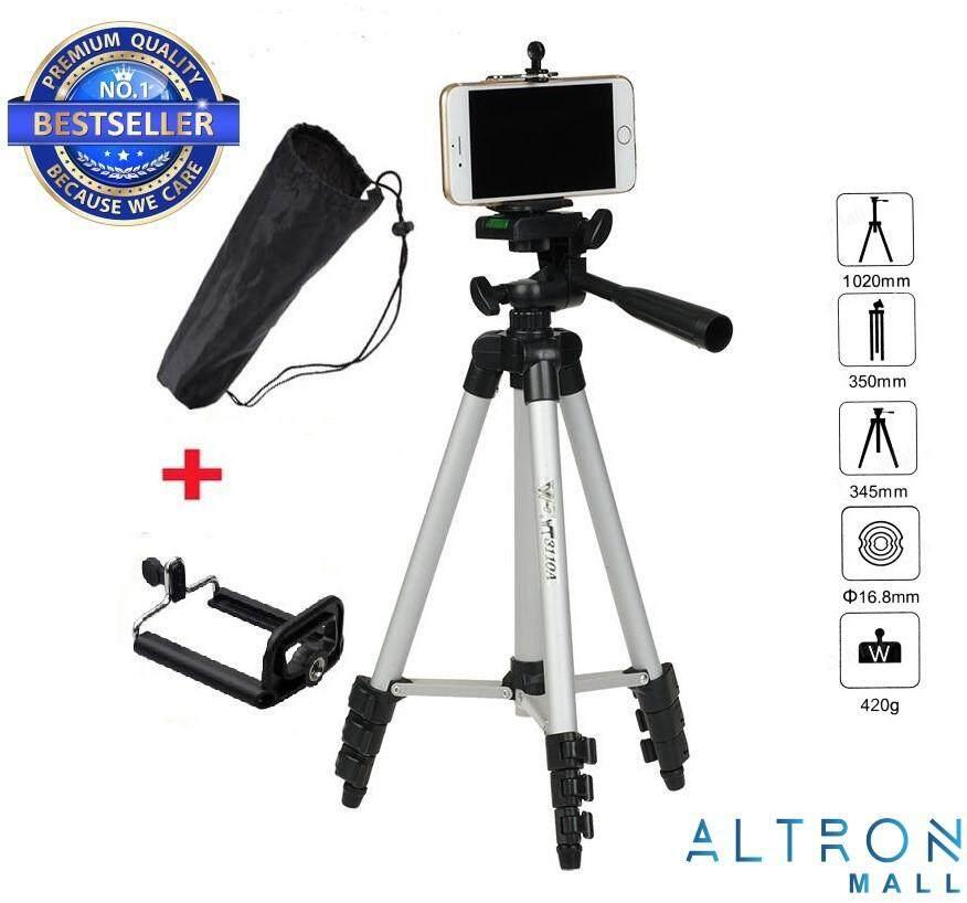 Pro Tripod Portable Lightweight Aluninum with Flexible Three-way Tripod Head for Smart Phone & Camera