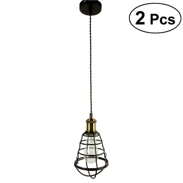 2PCS Retro Industrial Style Lights Hanging Lamp for Restaurant Living Room Kitchen Industrial Loft Bar without Bulbs Light Source (Black)