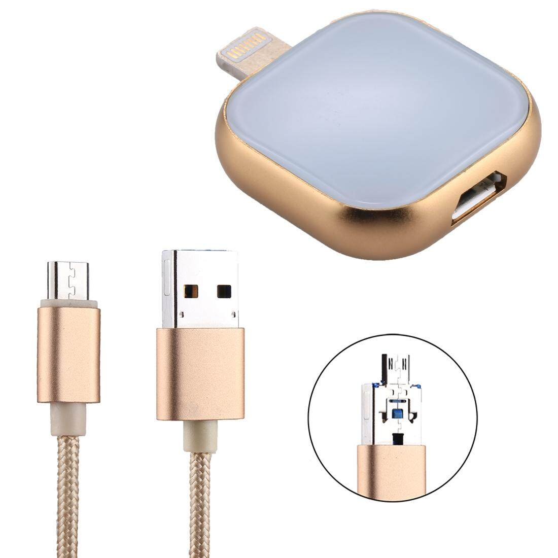 RQW-18S 8 Pin 16GB Multi-functional Flash Disk Drive with USB / Micro USB to Micro USB Cable, For iPhone X / iPhone 8 and 8 Plus / iPhone 7 and 7 Plus / iPhone 6 and 6s and 6 Plus and 6s Plus / iPad(Gold)
