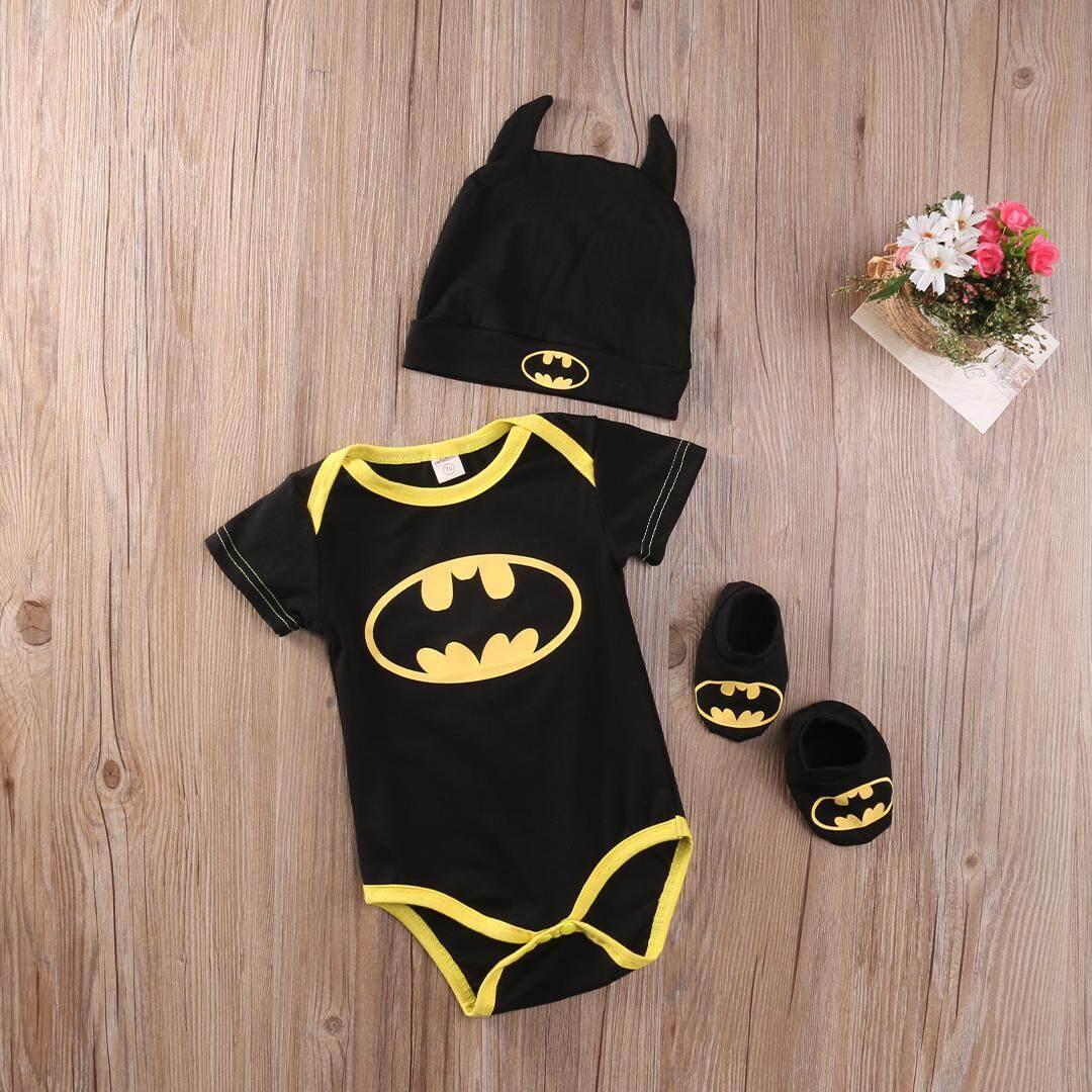 Newborn Baby Boy Girl Clothes Batman Rompers+Shoes+Hat Costumes 3Pcs Outfits  Set 2e70f02fe37a