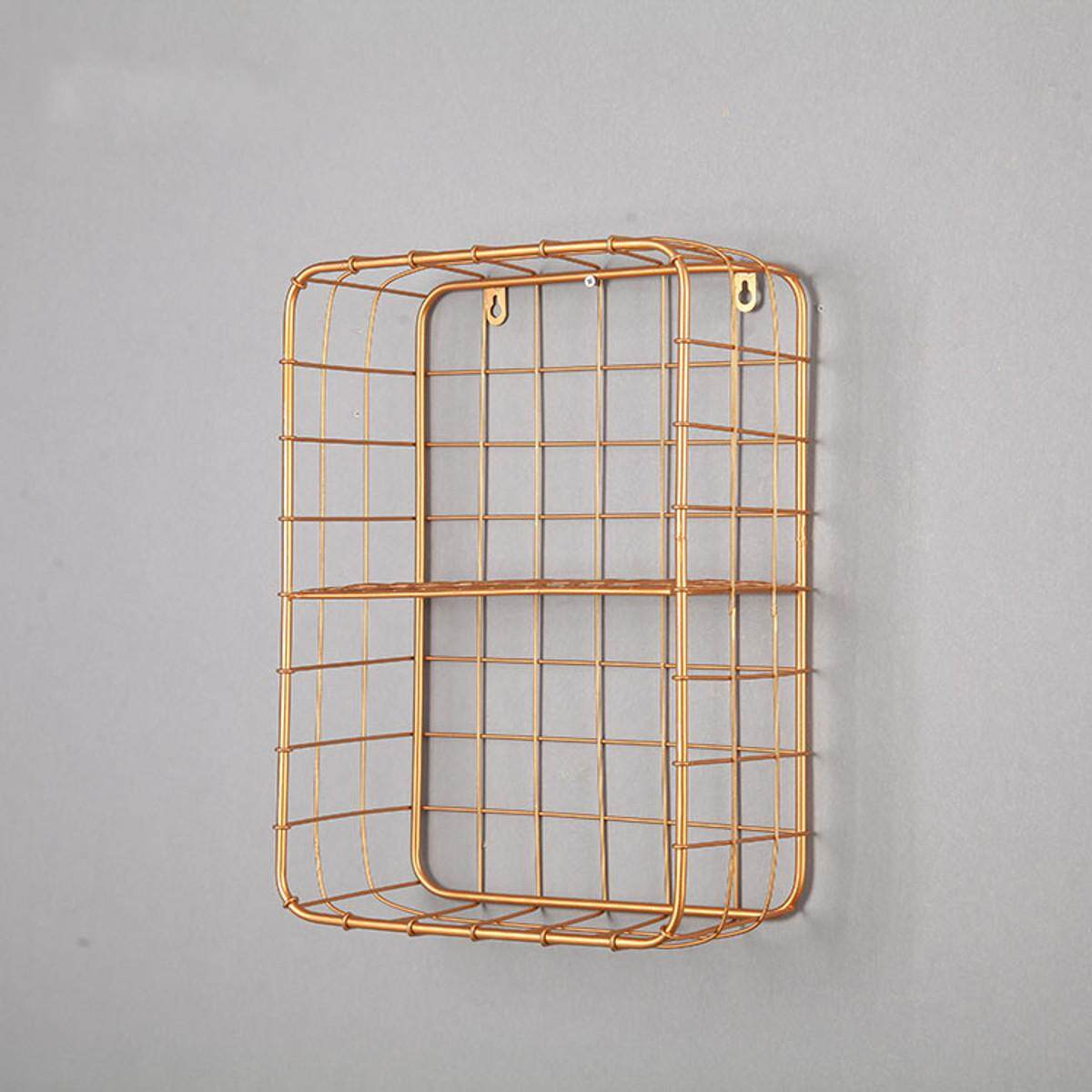 Rose Gold Metal Wire Shelf Basket Wall Mounted Hanging Photo Plant Display Rack Shelving