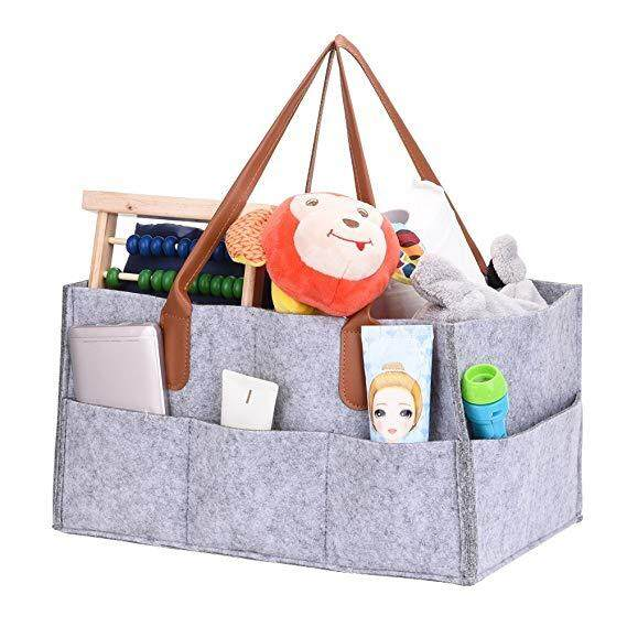 Diaper Organiser, Xgz Nappy Changing Storage Bag Foldable Felt Diaper Caddy Storage Bin For Home Car Travel,with Multi Pockets And Changeable Compartments By Sawu.