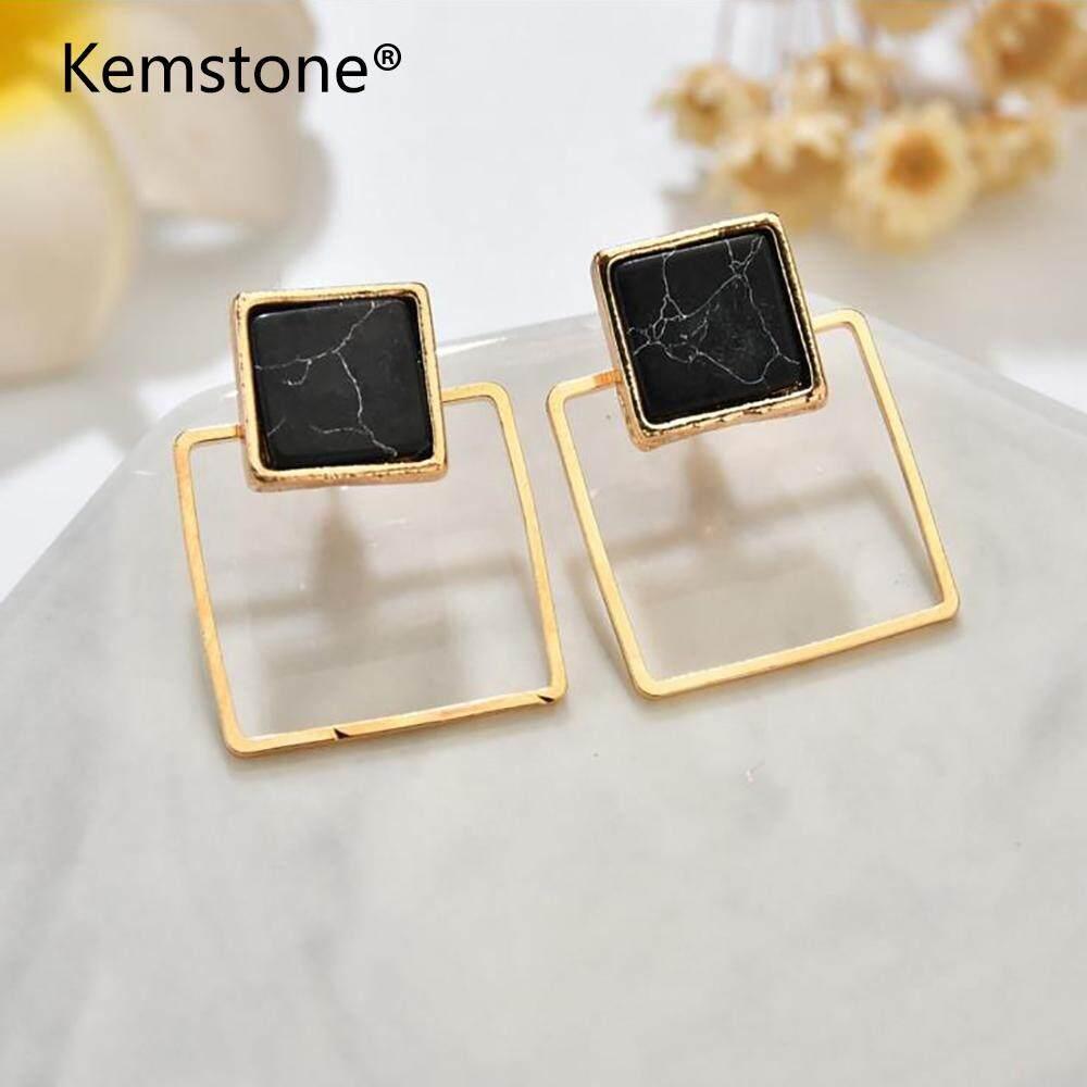 Kemstone Jual Panas Paduan Geometri Marble Pirus Stud Earring Perhiasan untuk Wanita