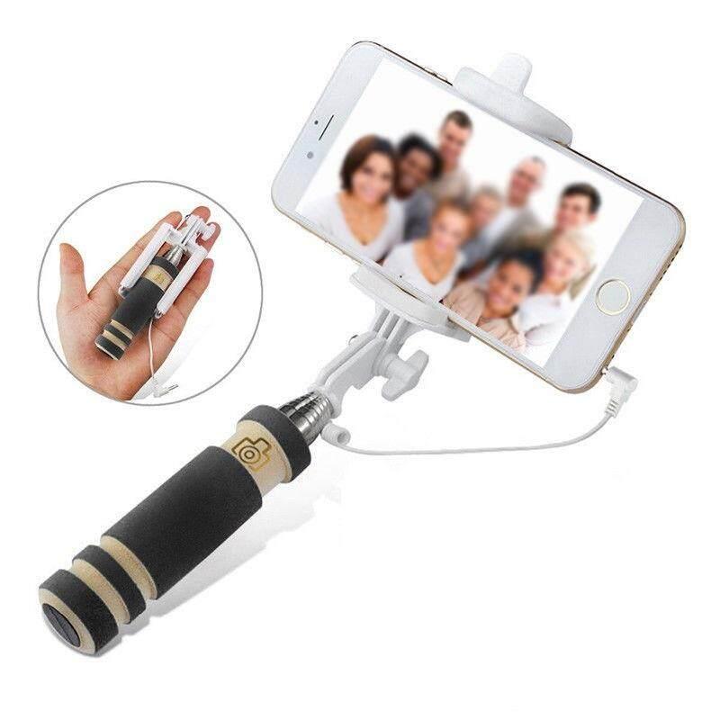 Gracekarin Online Mini Tongkat Swafoto Berkabel + Ponsel Lipat Dudukan untuk Samsung Iphone