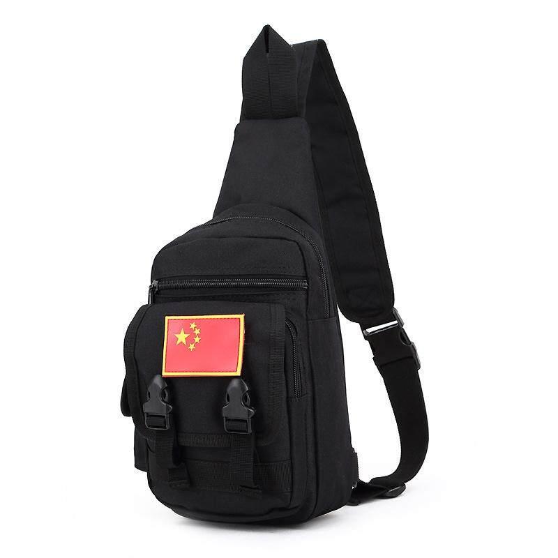 LOAO Penggemar Militer Taktis Dada Pria Wanita Outdoor Perjalanan Gunung Telepon Seluler Pack Tas Berkendara Bendera