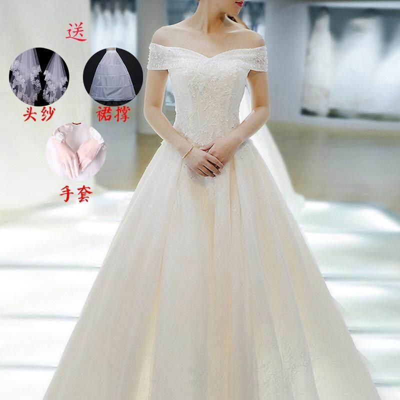 Hepburn Retro gaun resepsi gaun pengantin 2018 model baru pengantin wanita putri mimpi istana berekor panjang Terlihat Langsing gemetar suara Model Sama Gaun pengantin
