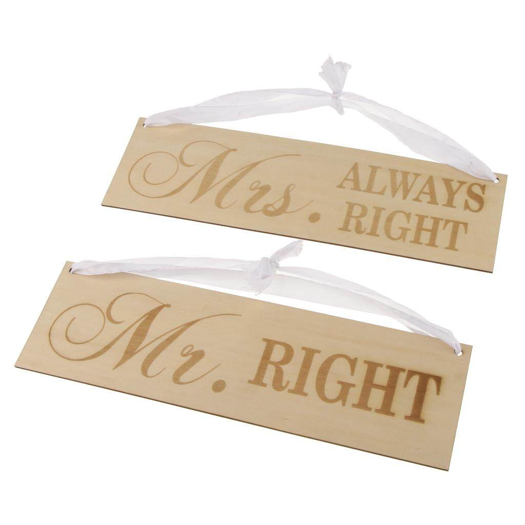 BolehDeals 2 Pieces Mr right Mrs always right Wooden Hanging Sign Wedding Engagement Party Chair Decorations Photo Prop