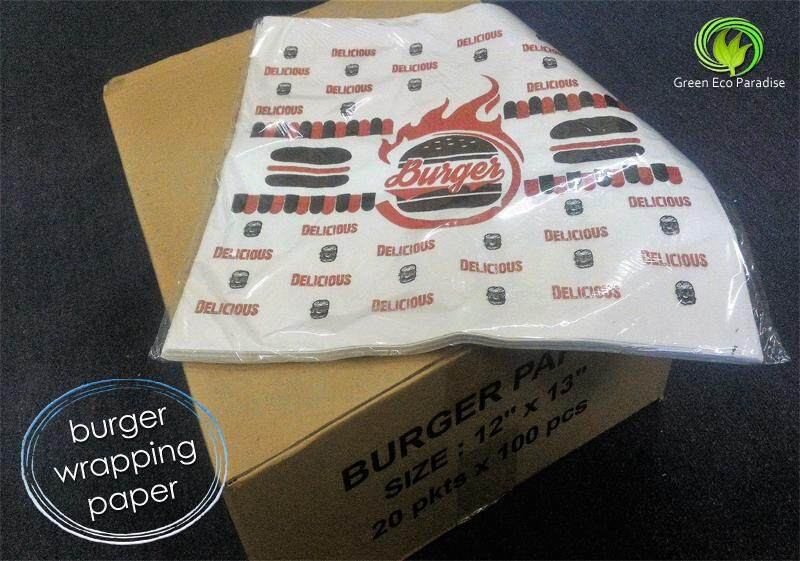 Designed Burger Wrapping Paper [Red] 2000 pieces/carton