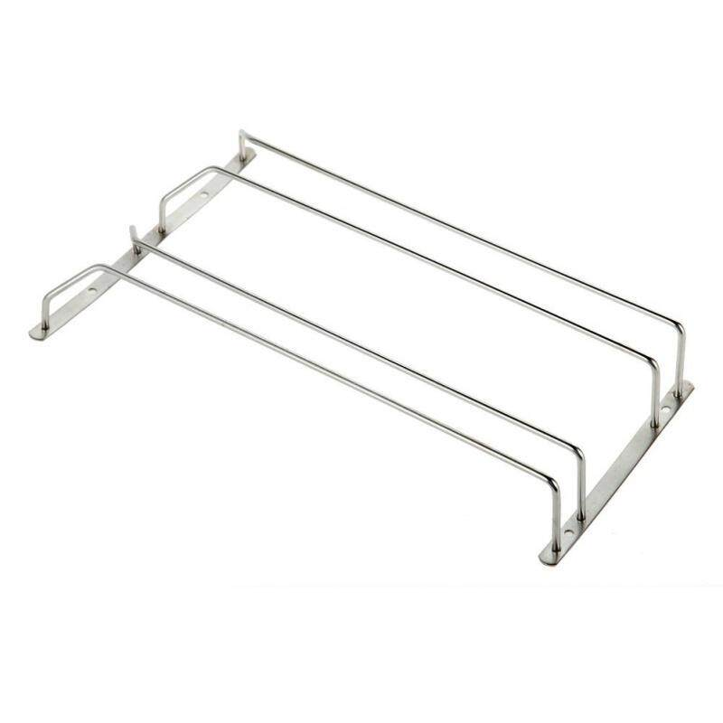 Wine Glass Rack Cabinet Stand Stainless Steel Home Dining Bar Tool Shelf Holder Hanger (2 Row) - intl