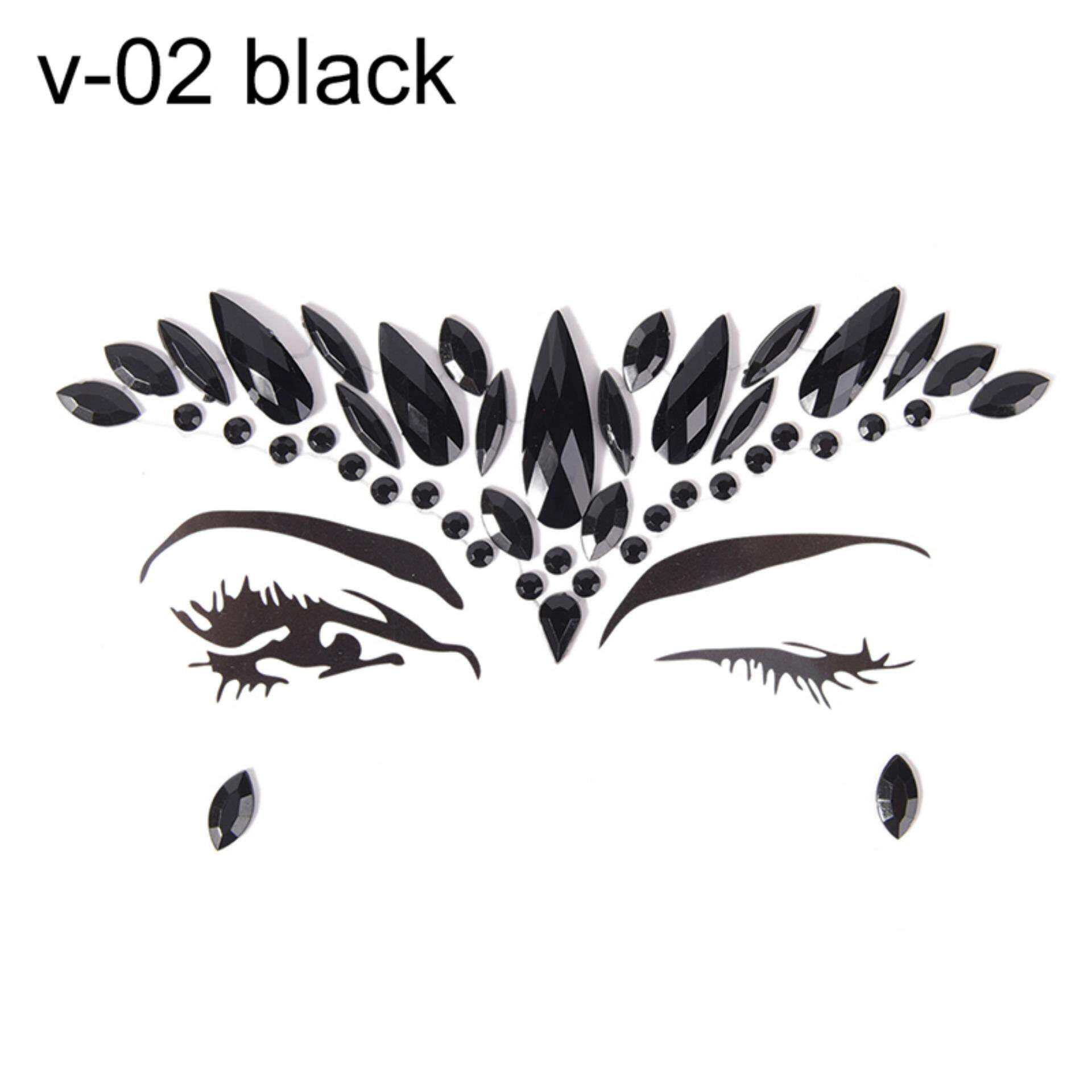 Makeup Fancy Crystal Face Body Jewels Festival Party Glitter Eye Stickers Tattoo Color: v-02 Black - intl tốt nhất