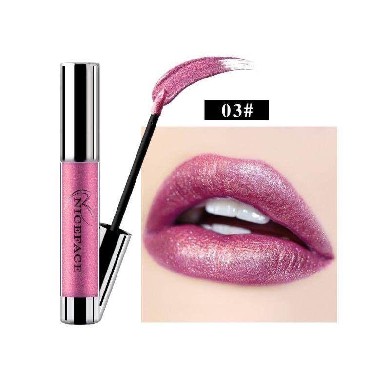 Lissng NICEFACE Non-stick Cangkir Tidak Pudar Logam Pelembap Bibir Melembapkan Tahan Lama Lipstick Cair Yang Unik Shinning & Kelembaban Formula Pelembap Bibir 3 #