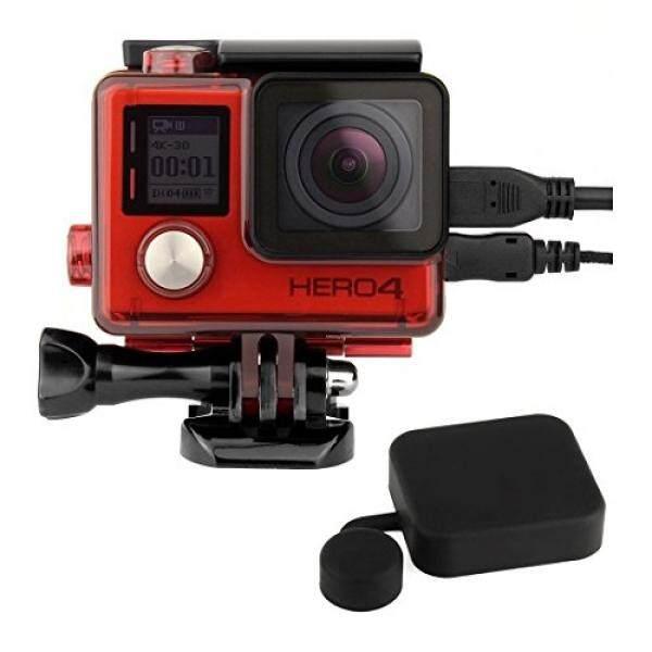 Soonsun Sisi Terbuka Pelindung Rumah Kerangka Kasus dengan LCD Touch Backdoor dan Standar Cangkang Pelindung Lensa Kover Tutup untuk GoPro Hero4 HERO 4 3 3 + Perak & Hitam (Merah) -Intl