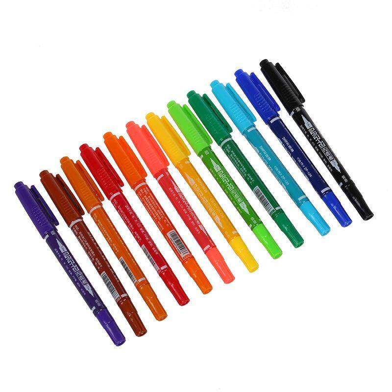 12 x Colors Double Ended Permanent Art Drawing Markers Highlighter Pen Office