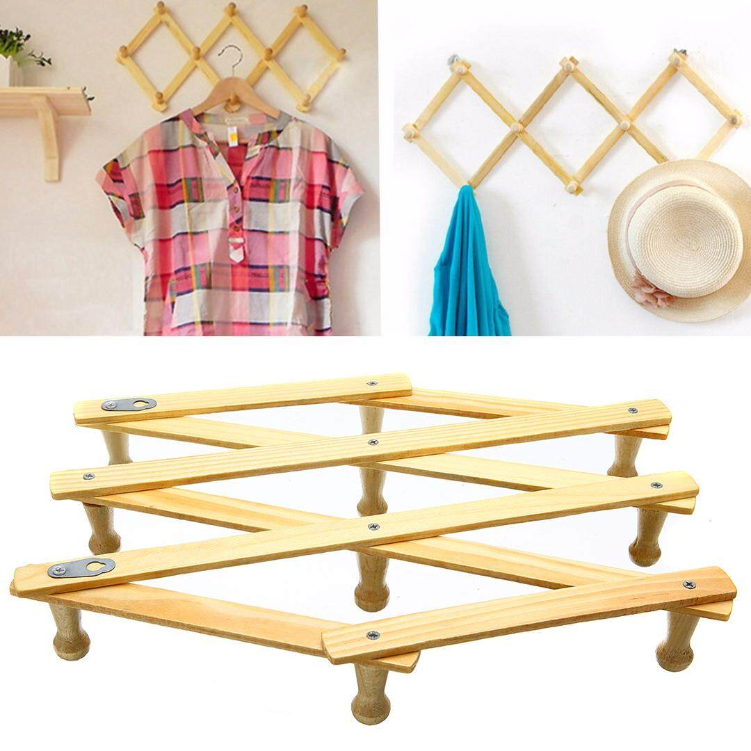 idealhere 10 Hooks Expanding Keys Hat Clothes Robe Towel Hanger Wall Mount Home Door Rack