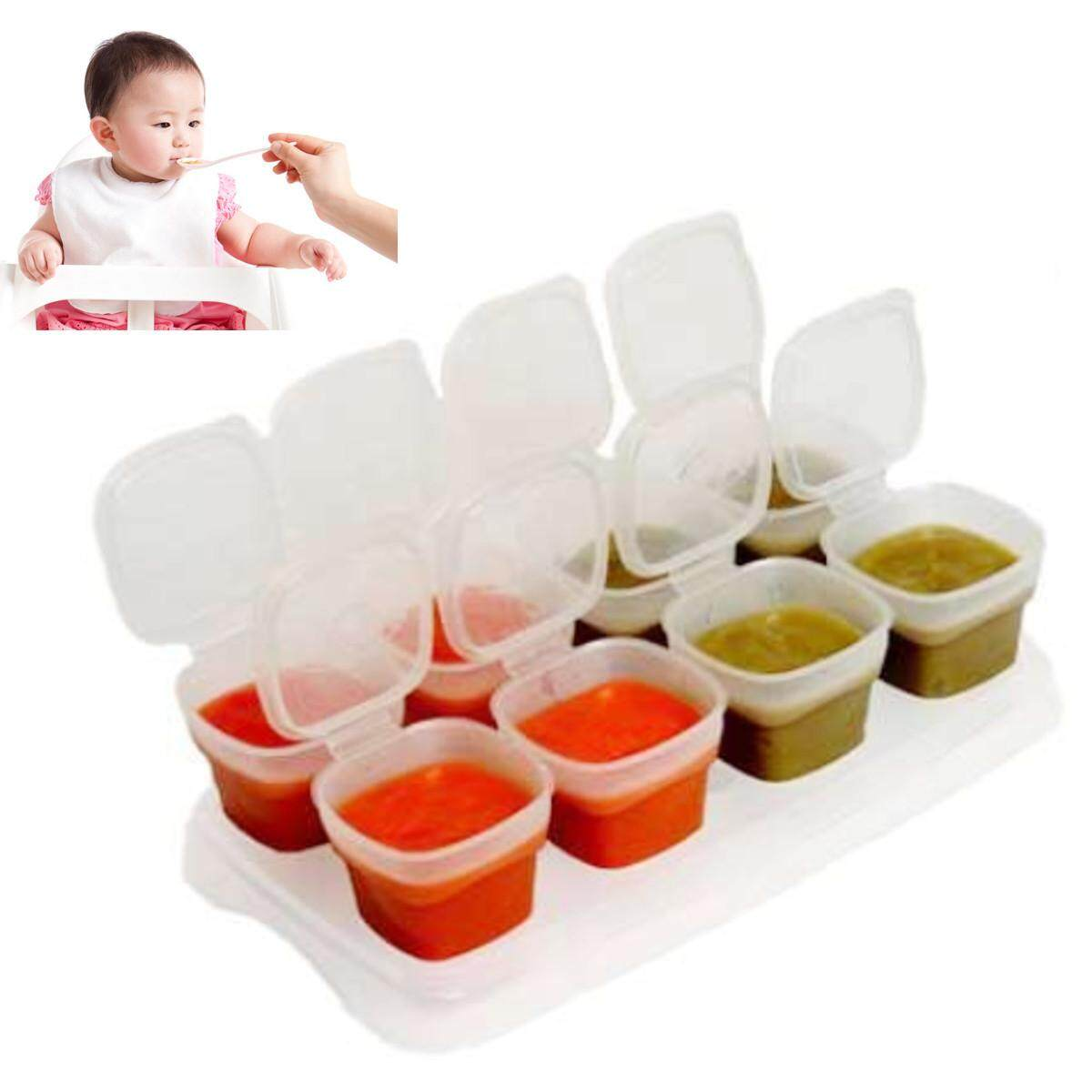 8pcs Baby Weaning Food Freezing Cubes Tray Pots Storage Containers Box Bpa Free By Moonbeam.