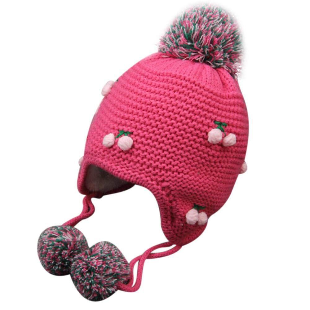 ... Musim Dingin Bayi Earflap Gadis Anak Laki-laki Peach Topi Anak-anak Topi Rajut