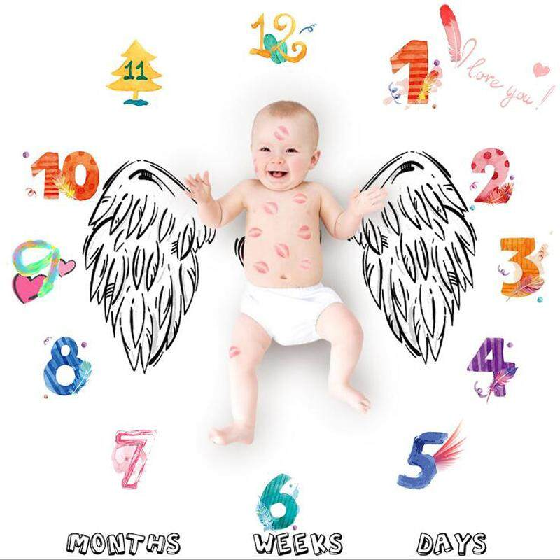 Price Compare Angel Wing Baby Milestone Blanket Photography Background Prop Growing For Infants And Toddlers Baby Shower Gift 100X100Cm Intl