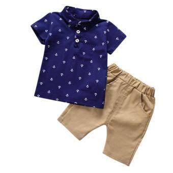 Kidlove Stylish Boy Short Clothes Set Short-Sleeve Printed Polo Plaid T-Shirt+Pants 1-5Y