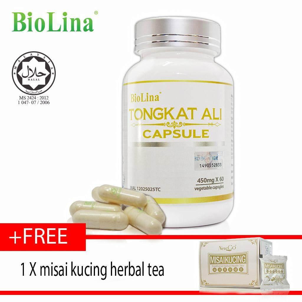 Biolina Tongkat Ali Capsule 60's x450mg  FREE misai kucing herbal tea ????60?