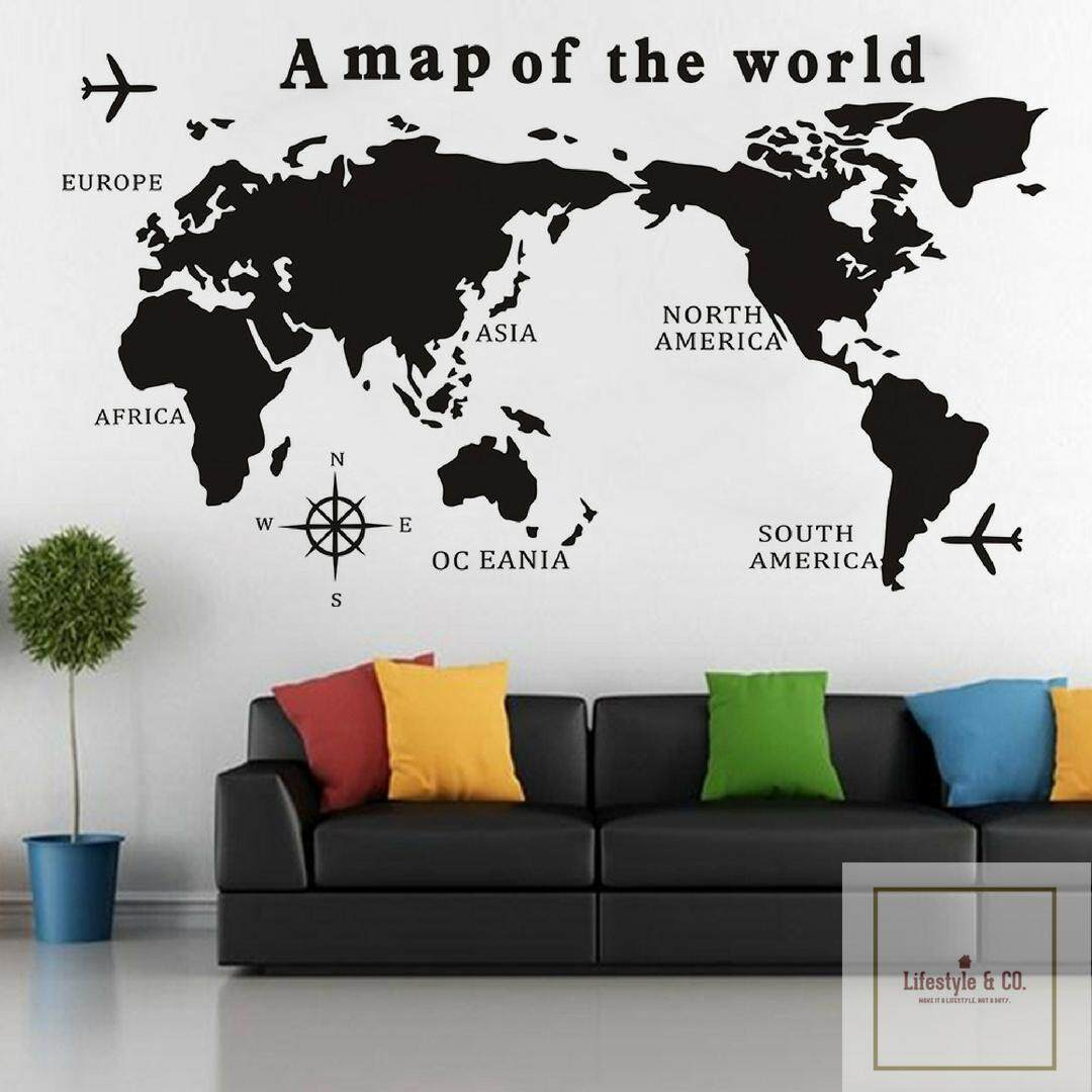 Home wall stickers decals buy home wall stickers decals at ready stock fast delivery e bay hot selling world map travel design a gumiabroncs Image collections